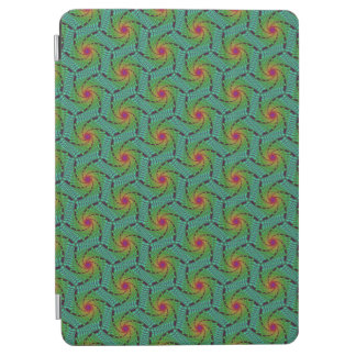 Teal green yellow and red fractal trippy design iPad air cover