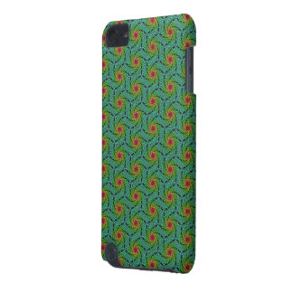 Teal green yellow and red fractal trippy design iPod touch 5G cases