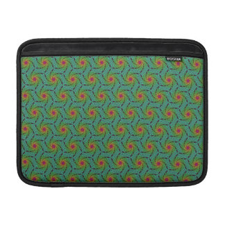 Teal green yellow and red fractal trippy design MacBook air sleeves