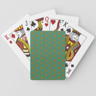Teal green yellow and red fractal trippy design playing cards