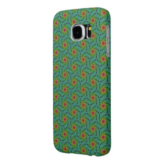 Teal green yellow and red fractal trippy design samsung galaxy s6 cases