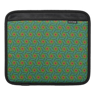Teal green yellow and red fractal trippy design sleeves for iPads