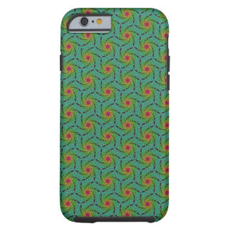 Teal green yellow and red fractal trippy design tough iPhone 6 case