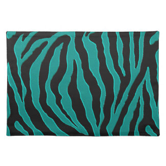 Teal Green Zebra Monogram Animal Print Placemats