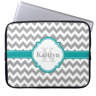 Teal Grey Chevron Pattern & Moroccan Quatrefoil Laptop Sleeve