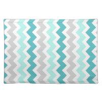Teal Grey Chevron Pattern Place mats