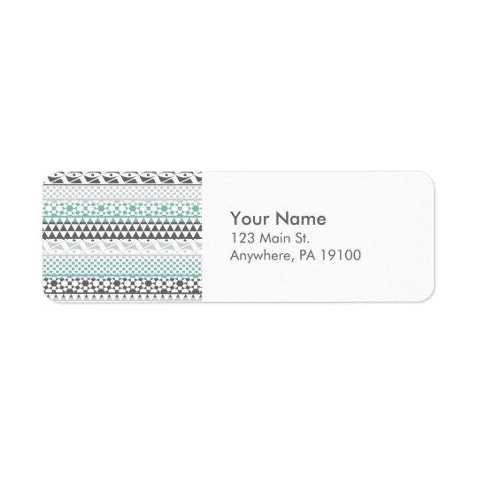 Teal Grey Geometric Aztec Tribal Print Pattern Return Address Label