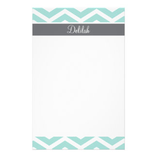 Teal Grey Gray Chevron Custom Personalized Stationery