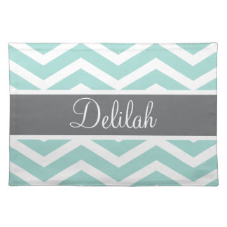 Teal Grey Gray Chevron Custom Placemats