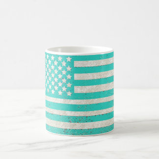 Teal grunge American flag Basic White Mug