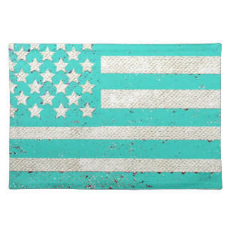 Teal grunge American flag Place Mat
