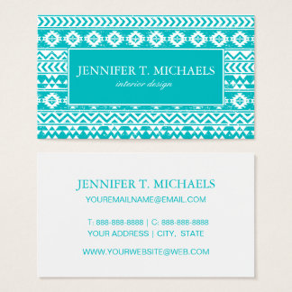 Teal Grunge Aztec Tribal Pattern Business Card