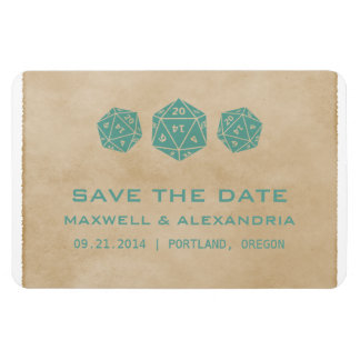 Teal Grunge D20 Dice Gamer Save the Date Magnet