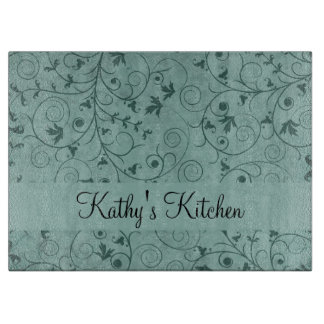 Teal Grungy Floral Cutting Board