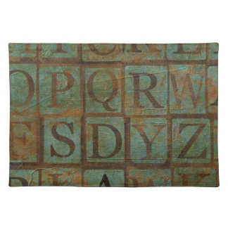 Teal Grungy Letters Alpha Placemat