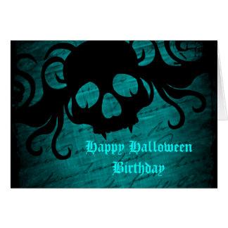 Teal Halloween birthday Card