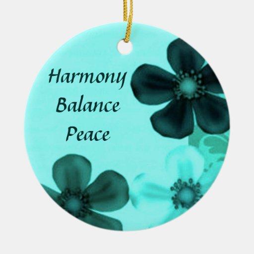 Teal Harmony Balance Peace Round Ornament