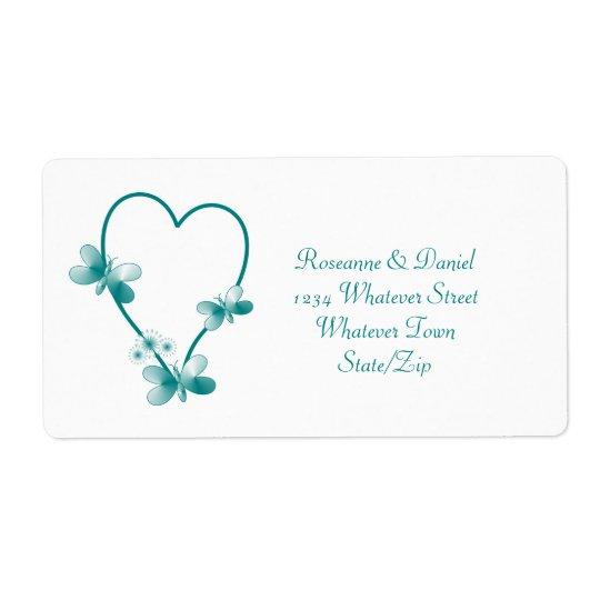 Teal Heart And Butterflies Address Label