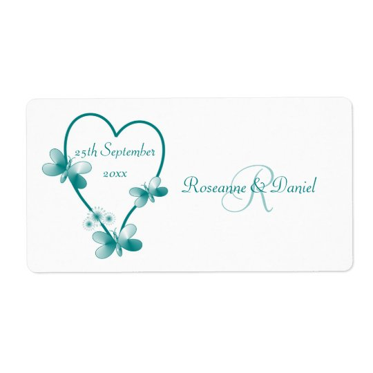 Teal Heart And Butterflies Wedding Favour Labe Shipping Label