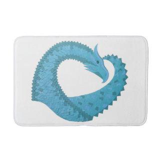 Teal heart dragon on white bath mat