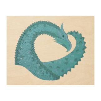 Teal heart dragon on white wood wall art