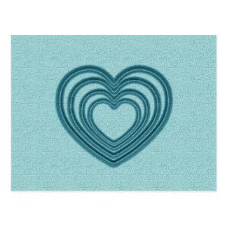 Teal Heart Ripple Postcard