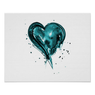 Teal Heart Watercolor Poster