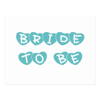 Teal Hearts Bride to Be Postcards