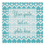 Teal Hearts Elegant Pattern for Home Gifts Poster