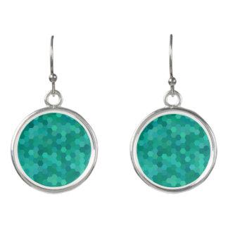 Teal Hexagonal Earrings