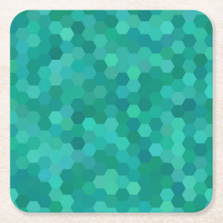 Teal Hexagonal Square Paper Coaster