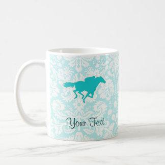 Teal Horse Racing Basic White Mug