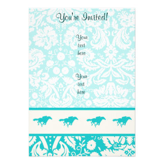 Teal Horse Racing Invitations