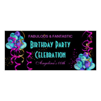 TEAL HOT PINK Banner Birthday Party Celebration Poster