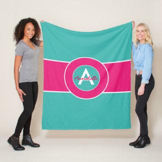 Teal Hot Pink Monogram Personalized Fleece Blanket