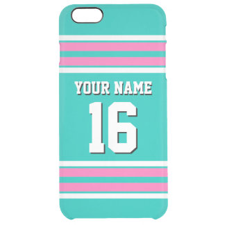Teal Hot Pink Team Jersey Custom Number Name Clear iPhone 6 Plus Case