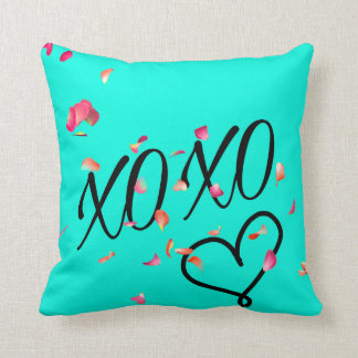 Teal Hugs & Kisses Throw Pillow