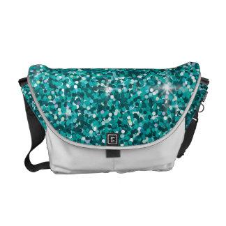 Teal iridescent glitter courier bags