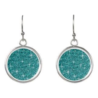 Teal iridescent glitter earrings
