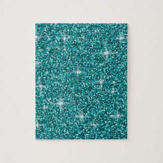Teal iridescent glitter jigsaw puzzle