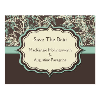 Teal Ivory Brown Floral Save The Date Postcard