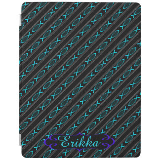 teal Jesus fish pattern iPad Cover