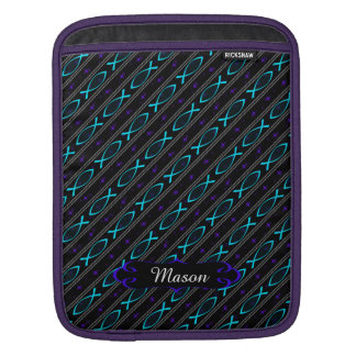 teal Jesus fish pattern iPad Sleeve