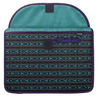 teal Jesus fish pattern Sleeve For MacBooks