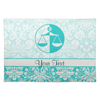 Teal Justice Scales Placemats