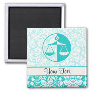 Teal Justice Scales Square Magnet
