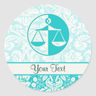 Teal Justice Scales Round Sticker