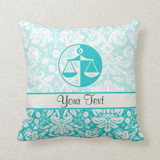 Teal Justice Scales Throw Cushion