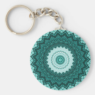 Teal Kaleidoscope Mandala Keychain