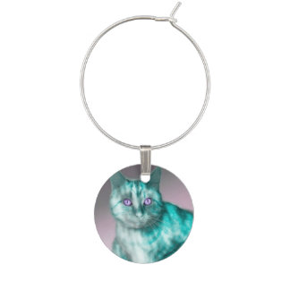 Teal Kitty Wine Charm